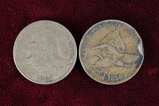 2 US Flying Eagle Cents; 1857 & 1858