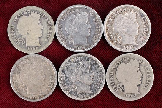 6 Barber Silver Dimes; 1898-O,1901-O1903-P,1905-P1906-O,1906-P
