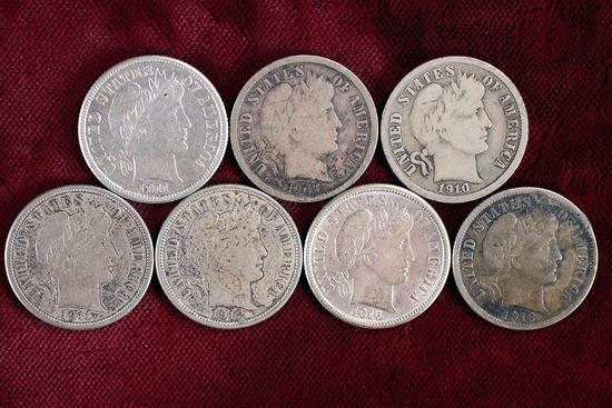 7 Barber Silver Dimes; 1907-S,1910-D,1911-D/S,1912-D,1915-P,1916-P