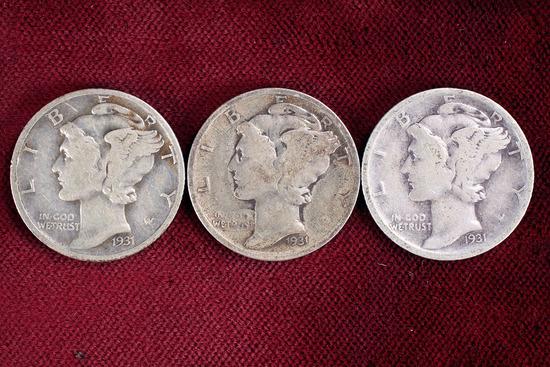 3 Mercury Silver Dimes; 1931-P/D/S