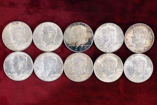 10 - 1964 Kennedy 90% Silver Half Dollars