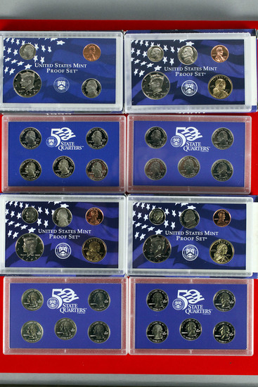 4 US Mint Proof Sets; 1999,2000,2001,2002