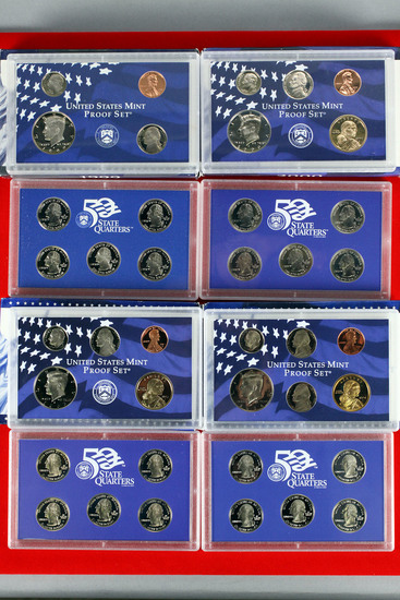 4 US Mint Proof Sets; 1999,2000,2003,2004