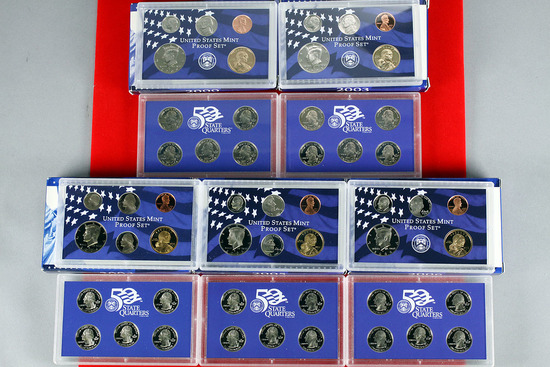 5 US Mint Proof Sets; 2000,2003,2004,2005,2006