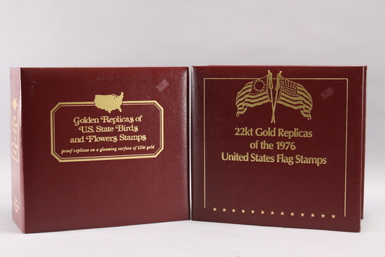 22k Gold Replicas of Birds & Flowers Stamps, 1976 US Flag Stamps