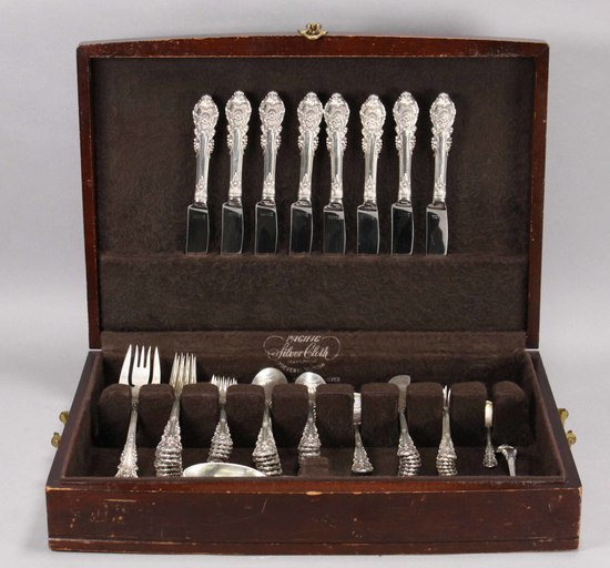 """Wallace Silver """"Sir Christopher"""" Sterling Silver Flatware, 2,391 Grams"""