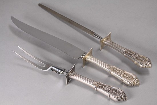 Wallace Silver Carving Set w/ Sterling Handles