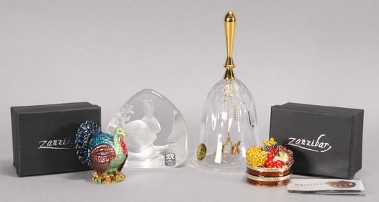 Crystal Bell, Rabbit  & Zanzibar Enameled Boxes