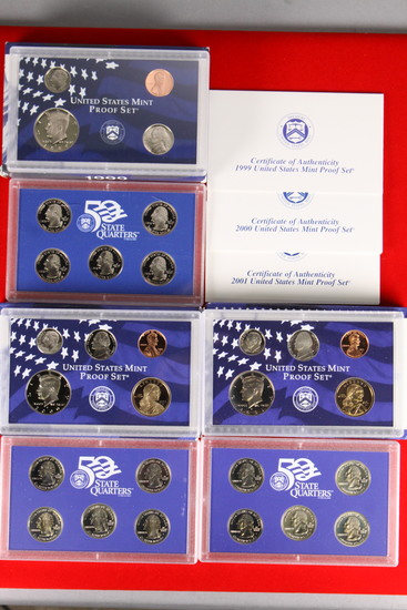3 U.S. Mint Proof Sets; 1999,2000,2001