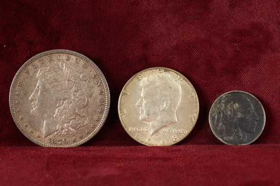 1879-P Morgan Silver Dollar, 1968 40% Kennedy Half Dollar and