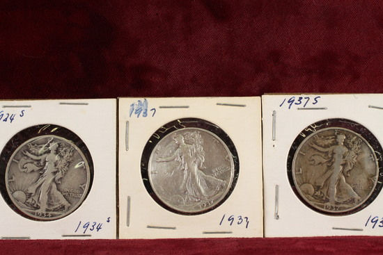 3 Walking Liberty Half Dollars; 1934-S,1937-P,1937-S