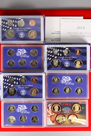 3 U.S. Mint Proof Sets; 2000,2002,2008
