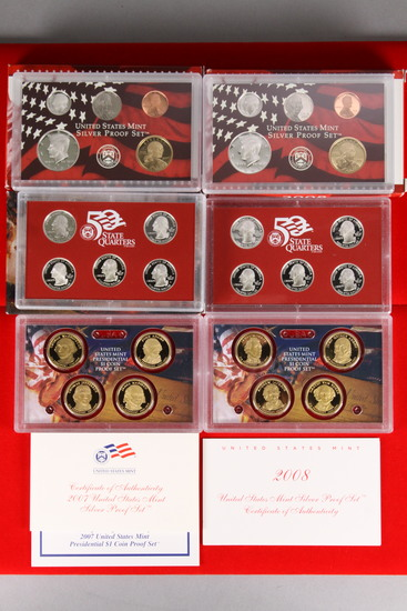 2 U.S. Mint Silver Proof Sets; 2007,2008