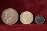 1879-P Morgan Silver Dollar, 1968 40% Kennedy Half Dollar and