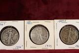 3 Walking Liberty Half Dollars; 1934-S,1937-P,1937-S