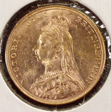 1890 Gold Great Britain Sovereign, Victoria