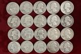 20 Washington Silver Quarters; various dates/mints