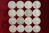 16 Washington Silver Quarters; various dates/mints
