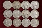 12 Washington Silver Quarters; various dates/mints