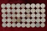 45 Mercury Silver Dimes; various dates/mints