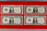 4 Blue Seal Silver Certificates; 1928-A,1928-B,1928-C,1928-D