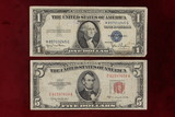 1935-D Blue Seal Silver Certificate & 1953-C $5 Red Seal Note