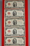 1-1928-F + 4-1928-G $2 Red Seal Notes