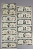 13 $2 Red Seal Notes; 7-1963, 6-1963-A