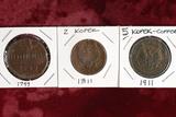 1799 Russia 2 Kopek E.M., 1811 Russia 2 Kopek & 1911 Russia 5 Kopek
