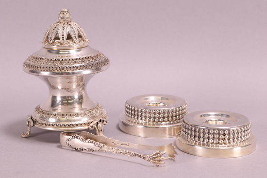 Sterling Silver Candle Holders, Incense Burner & Tongs, 208 Grams