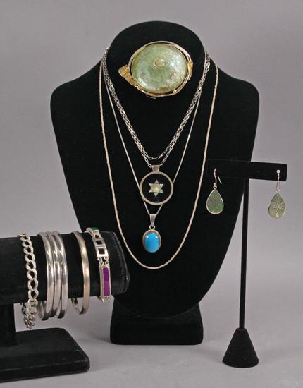 Sterling Silver Pendants, Bracelets, Brooch, Earrings,164.9 Grams