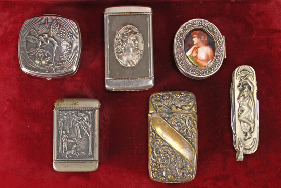 Antique Match Safes, Compact, Gentleman's Pocket Knife