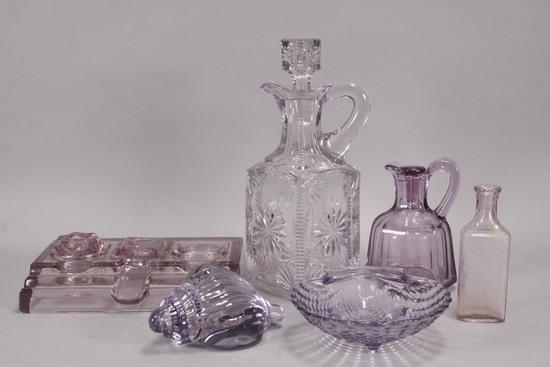 Purple Glass Decanter, Pitcher, Fountain Pen Stand, Shells