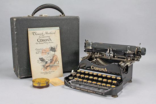 Antique Corona 3 Folding Typewriter w/ Case,