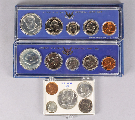 2 US Special Mint Sets 1966 & 1967 + 1964 U.S. Year Set