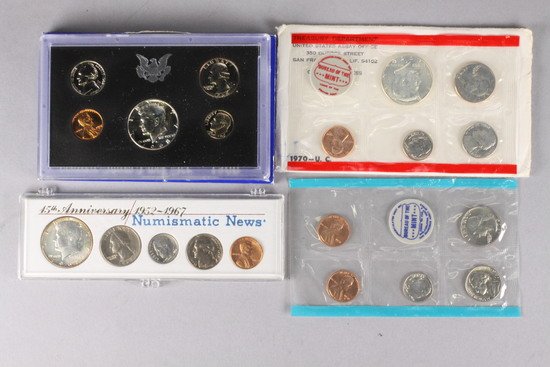 1968 US Proof Set, 1970 US Mint P/D Set U.C., + 1967 US 15th Anniversary Set