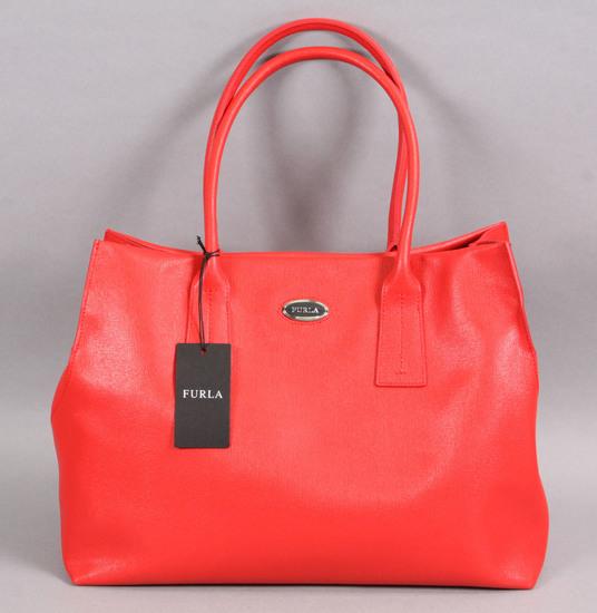 Red Leather Furla Ladies Handbag