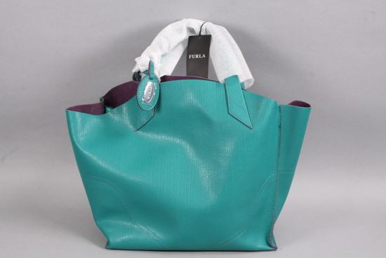 Ladies Furla Leather Handbag - Turquoise