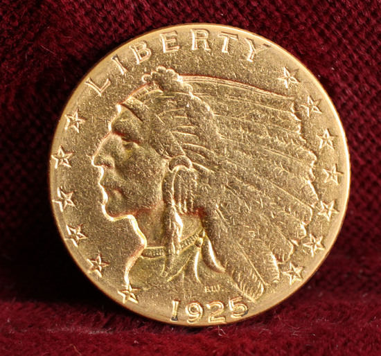 1925-D $2.50 US Gold Indian Head Half Eagle