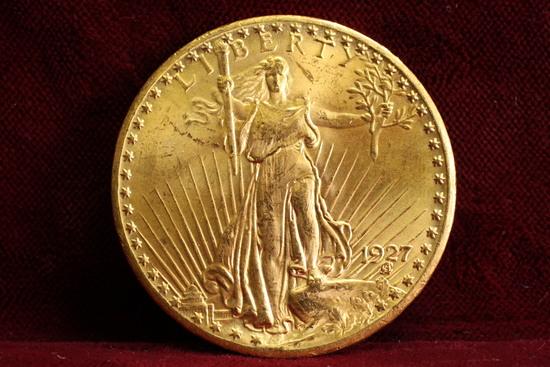 1927 $20  US Gold Saint-Gaudens Double Eagle