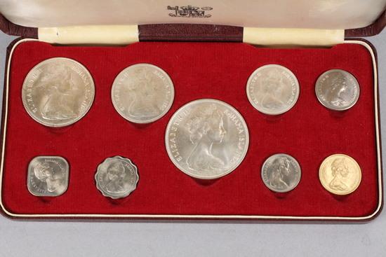 1966 Royal Mint Queen Elizabeth II Bahama Islands 9 Coin Set