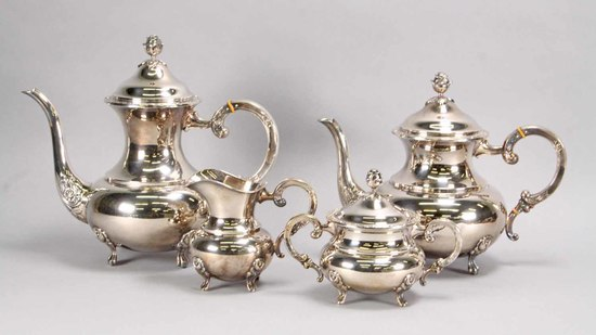 Eugen Ferner Sterling Silver Coffee - Tea Set, 2,332 Grams