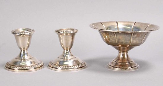 Sterling Silver Bowl & Weighted Candlesticks
