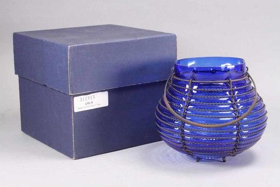 """Glass Magic"" Vase w/ Iron Wrap, Czech Republic"