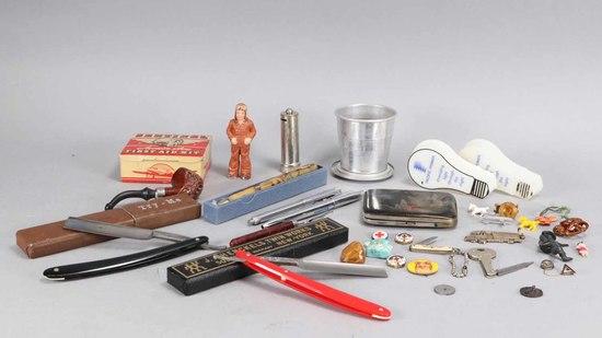 Straight Razors, Aviator Toy, Pipe, Cigarette Case, Lassie & More