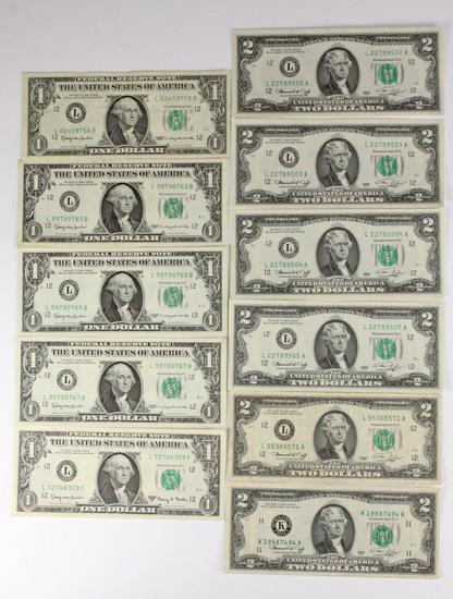 7 - 1976 $2 Federal Reserve Notes + 5 - 1963 $1 Federal Reserve Notes