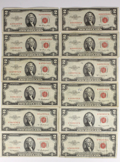 12 - 1953 $2 Red Seal Notes; 3-1953, 3-1953A, 3-1953B, 3-1953C