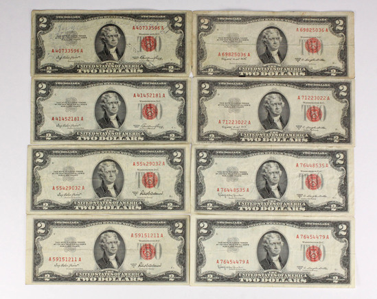 8 - 1953 $2 Red Seal Notes; 2-1953, 2-1953A, 2-1953B, 2-1953C