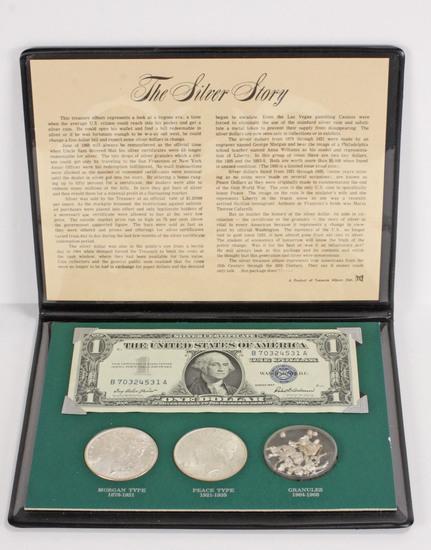 The Silver Story Coin Set; 1887-P Morgan, 1922-P &