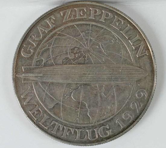 Graf Zeppelin 5 Mark/Reichsmark Silver Coin, 1930 A